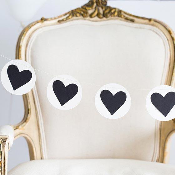 デコレーションアイテム ガーランド/Black&white/Circle Heart[マイマインズアイ] 1