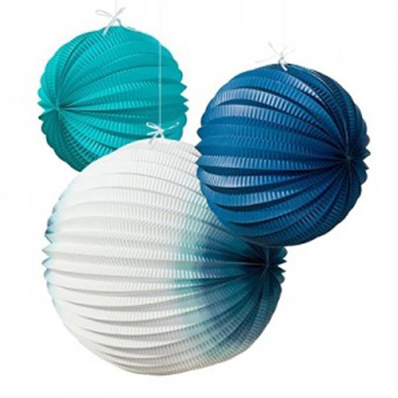 デコレーションアイテム ペーパーボール/アコーデオンランタン/コーストブルー[トーキングテーブル] 27