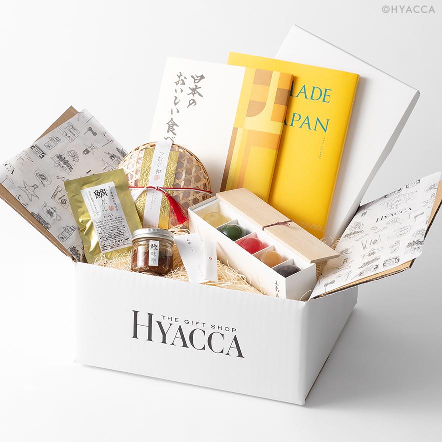 引き出物 カタログギフト/メイドインジャパン6+日本のおいしい食べ物/橙 2冊セット+和菓子+鯛出汁 1